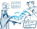 2018 anthro avian bird blush clothed clothing comic dialogue duo english_text eyes_closed feline female feral fluffy fluffy_tail fur hi_res human humor keidran leopard looking_back male mammal monochrome open_mouth ponytail simple_background sketch snow_leopard sound_effects spots spotted_fur surprise text tom_fischbach topless transformation twokinds webcomic white_background yelling