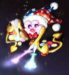 1boy bow bowtie claws commentary_request dark_background fangs flying glowing gradient gradient_background hallons_kabo hat heart hexagon highres jester_cap kirby_(series) magic marx nintendo no_humans open_mouth purple_eyes red_bow red_neckwear scales smile solo sparkle wings yellow_wings