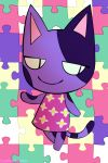 abstract_background animal_crossing anthro bob_(animal_crossing) cat clothing dress feline fur male mammal nintendo purple_fur purple_spots slit_pupils smile solo spots standing video_games yaoimeowmaster