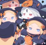 1boy 6+girls :d abigail_williams_(fate/grand_order) bangs black_bow black_dress black_hair black_hat blonde_hair bloomers blue_eyes blush bow bug butterfly chibi commentary_request dress eyebrows_visible_through_hair facing_away fate/grand_order fate_(series) forehead fujimaru_ritsuka_(female) fujimaru_ritsuka_(male) hair_bow hat highres insect keyhole long_hair long_sleeves multiple_girls multiple_persona open_mouth orange_bow parted_bangs polka_dot polka_dot_bow red_eyes silver_hair sleeves_past_fingers sleeves_past_wrists smile underwear usuaji v-shaped_eyebrows very_long_hair white_bloomers white_skin witch_hat