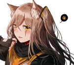 1girl :d animal_ears bangs black_gloves blush brown_hair cat_ears eyebrows_visible_through_hair face fingerless_gloves girls_frontline gloves hair_between_eyes hair_ornament looking_at_viewer one_side_up open_mouth paw_print scar silence_girl smile solo ump45_(girls_frontline) yellow_eyes