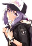 1girl absurdres backpack bag bangs baseball_cap black_hat black_jacket blush closed_mouth commentary_request eyebrows_visible_through_hair hair_between_eyes hat highres holding hood hood_down hooded_jacket jacket long_hair miruto_netsuki original purple_eyes purple_hair short_sleeves smile solo watch white_background wristwatch