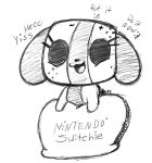 :3 beady_eyes canine dog english_text featureless_chest female greyscale hi_res mammal midnytesketch monochrome multicolored_skin nintendo nintendo_switch open_mouth pose short_stack simple_background sketch smile solo standing switch switch_dog text two_tone_skin video_games
