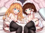 2girls :d bangs bed_sheet black_legwear blonde_hair blue_eyes blush breasts brown_hair brown_panties collarbone commentary_request eyebrows_visible_through_hair frilled_legwear garter_straps green_eyes hair_between_eyes hair_ornament interlocked_fingers long_hair looking_at_viewer lying maid_headdress mochiyuki multiple_girls nipples on_side open_mouth original panties parted_lips pillow plaid plaid_panties small_breasts smile striped thighhighs topless underwear underwear_only vertical-striped_panties vertical_stripes very_long_hair wrist_cuffs x_hair_ornament
