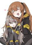 2girls 404_logo_(girls_frontline) artist_request brown_hair commentary_request eyebrows_visible_through_hair eyes_closed girls_frontline grey_hair highres hood hooded_jacket jacket multiple_girls petting scar scar_across_eye siblings sisters sweatdrop twins twintails ump45_(girls_frontline) ump9_(girls_frontline) younger