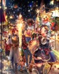 1girl 2boys :d bag bangs black_hair black_legwear blue_coat blue_pants blue_shorts box brown_eyes brown_footwear brown_gloves brown_hair christmas creatures_(company) eevee eye_contact floating_hair furret game_freak gen_1_pokemon gen_2_pokemon gift gift_box gloves gold_(pokemon) grey_coat holding holding_bag index_finger_raised kotone_(pokemon) leg_up lens_flare looking_at_another multiple_boys naru_(andante) night nintendo noctowl open_mouth outdoors pants parted_bangs pichu pokemon pokemon_(creature) pokemon_(game) pokemon_hgss red_hair red_sweater running short_shorts shorts silver_(pokemon) smile snowing sweater teddiursa thighhighs twintails zettai_ryouiki