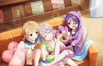 3girls ahoge artist_request bangs blonde_hair blush braid brown_eyes couch drill_hair earrings eyebrows_visible_through_hair eyepatch eyes_closed fang food food_print friends hair_between_eyes hayasaka_mirei heart heart_pillow holding holding_stuffed_animal hood hoodie hoshi_shouko idolmaster idolmaster_cinderella_girls idolmaster_cinderella_girls_starlight_stage individuals indoors jewelry long_hair long_sleeves looking_at_another magazine morikubo_nono multicolored_hair multiple_girls mushroom mushroom_print official_art open_mouth pillow purple_hair ringlets short_hair side_braid silver_hair single_braid sitting sleeves_past_wrists smile striped striped_legwear stuffed_animal stuffed_toy