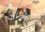2girls aircraft animal_ears blonde_hair bunny_ears desert gun helicopter highres knee_pads load_bearing_vest long_hair looking_at_viewer military military_uniform multiple_girls nurim orange_eyes orange_hair original short_hair_with_long_locks sitting suppressor uniform weapon weapon_request yellow_eyes