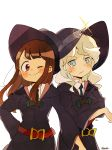2girls absurdres blue_eyes blush brown_hair commentary_request cowboy_shot diana_cavendish frown hat highres kagari_atsuko light_green_hair little_witch_academia looking_at_viewer luna_nova_school_uniform multiple_girls one_eye_closed red_eyes satuki05maguro simple_background smile white_background wide_sleeves witch witch_hat