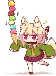 1girl :o animal_ear_fluff animal_ears bangs bell bell_collar blonde_hair blush brown_collar collar eighth_note eyebrows_visible_through_hair food fox_ears fox_girl fox_tail full_body hair_between_eyes hair_bun hair_ornament holding holding_food ice_cream ice_cream_cone jingle_bell kemomimi-chan_(naga_u) long_hair looking_away musical_note naga_u orange_neckwear original outstretched_arm parted_lips pleated_skirt purple_skirt red_eyes red_footwear ribbon-trimmed_legwear ribbon_trim sailor_collar school_uniform serafuku shadow sidelocks skirt solo standing standing_on_one_leg tail tail_raised thighhighs too_many too_many_scoops white_background white_legwear white_sailor_collar zouri
