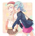 2girls :d alternate_hairstyle aqua_hair bag bang_dream! bangs beret black_jacket blonde_hair braid brown_skirt clothes_writing collared_shirt drop_shadow e20 earrings from_side green_eyes hair_ornament hair_over_one_eye hairpin hand_holding hat hikawa_hina holding_strap jacket jewelry long_sleeves looking_at_another miniskirt multiple_girls open_mouth outline pink_skirt plaid plaid_skirt pleated_skirt purple_eyes red_hat shirasagi_chisato shirt shoulder_bag single_braid skirt smile twin_braids white_outline white_shirt