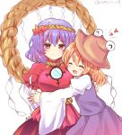 2girls :d ^_^ artist_name bangs blonde_hair blouse blush breasts brown_hat closed_eyes commentary_request cowboy_shot eyebrows_visible_through_hair eyes_closed hair_between_eyes hair_ornament hair_ribbon hand_on_another's_back hand_on_hip hat heart highres juliet_sleeves large_breasts leaf_hair_ornament long_sleeves looking_at_viewer mirror moriya_suwako multiple_girls open_mouth puffy_short_sleeves puffy_sleeves purple_hair purple_skirt purple_vest ramudia_(lamyun) red_blouse red_eyes red_ribbon red_skirt ribbon rope shide shimenawa shirt short_hair short_sleeves simple_background skirt skirt_set smile touhou twitter_username vest white_background white_shirt wide_sleeves yasaka_kanako yuri