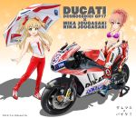 2girls absurdres bangs bare_shoulders biker_clothes bikesuit blonde_hair blue_footwear blush bodysuit boots bow breasts cleavage eyelashes flick_(sal23) gradient gradient_background green_eyes ground_vehicle hair_bow highres idolmaster idolmaster_cinderella_girls jougasaki_mika jougasaki_rika legs long_hair looking_at_viewer medium_breasts midriff motor_vehicle motorcycle multiple_girls navel open_bodysuit open_mouth orange_background pants pink_hair purple_bikini_top red_bodysuit red_bow red_footwear red_pants shoes siblings sidelocks sisters small_breasts smile star starry_background two_side_up umbrella yellow_eyes