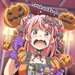 1girl bang_dream! bangs black_neckwear bow bowtie candy candy_earrings candy_hair_ornament clenched_hand double_bun english flying_sweatdrops food food_themed_hair_ornament frilled_sleeves frills ghost gloves hair_bow hair_ornament hair_ribbon halloween head_wings indoors jack-o'-lantern lollipop maruyama_aya medium_hair orange_ribbon pink_eyes pink_hair polka_dot_neckwear puffy_sleeves purple_gloves purple_ribbon riai_(onsen) ribbon scared solo tears upper_body wavy_mouth