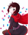 1girl artist_request ass black_dress black_hair blush boots breasts cape dress gradient_hair hood looking_at_viewer looking_back looking_up multicolored_hair pantyhose red_hair ruby_rose rwby short_hair sideboob silver_hair sitting skirt smile solo wariza