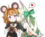 2girls alternate_costume animal_ear_fluff animal_ears art556_(girls_frontline) bangs bear_ears black_bra black_collar black_shirt blush bow bra cheek_licking eyebrows_visible_through_hair face_licking girls_frontline gloves green_bow green_hair green_skirt grizzly_mkv_(girls_frontline) hair_bow heart highres licking long_hair midriff multiple_girls orange_hair pelican_(s030) purple_eyes shirt short_hair shoulder_cutout skirt twintails underwear white_gloves