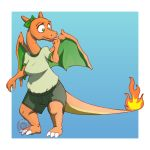 absurd_res anthro berriesandcoffee big_eyes bow breasts charizard clothing female franchesca green_eyes hi_res nintendo non-mammal_breasts pokémon pokémon_(species) solo video_games