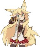 1girl animal_ears bangs black_legwear blonde_hair blush borrowed_character bracelet breasts fox_ears fox_tail gluteal_fold green_eyes head_tilt jewelry kokonoe_tsubaki long_hair looking_at_viewer midriff miniskirt multiple_tails muu_(mumumer) navel original partially_unzipped red_skirt salute simple_background skirt small_breasts smile solo tail thighhighs white_background zettai_ryouiki zipper zipper_pull_tab