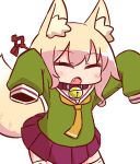 1girl :o animal_ear_fluff animal_ears arms_up bangs bell bell_collar blonde_hair blush brown_collar collar eyebrows_visible_through_hair eyes_closed facing_viewer fang fox_ears fox_girl fox_tail green_shirt hair_between_eyes hair_ornament jingle_bell kemomimi-chan_(naga_u) long_sleeves naga_u open_mouth orange_neckwear original pleated_skirt purple_skirt ribbon-trimmed_legwear ribbon_trim sailor_collar school_uniform serafuku shirt sidelocks simple_background skirt sleeves_past_fingers sleeves_past_wrists solo standing tail tail_raised thighhighs white_background white_legwear white_sailor_collar