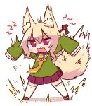 1girl angry animal_ear_fluff animal_ears bangs bell bell_collar blonde_hair blush brown_collar collar eyebrows_visible_through_hair fox_ears fox_girl fox_tail full_body green_shirt hair_between_eyes hair_bun hair_ornament jingle_bell kemomimi-chan_(naga_u) legs_apart long_hair long_sleeves looking_at_viewer naga_u open_mouth orange_neckwear original pleated_skirt purple_skirt red_eyes red_footwear ribbon-trimmed_legwear ribbon_trim sailor_collar school_uniform serafuku shadow shirt sidelocks skirt sleeves_past_fingers sleeves_past_wrists solo tail tail_raised thighhighs v-shaped_eyebrows wavy_mouth white_background white_legwear white_sailor_collar zouri