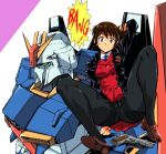1girl arm_behind_back arm_behind_head arm_up bangs black_jacket black_legwear blue_neckwear brown_footwear brown_hair commentary_request crotch_seam double-breasted eyebrows_visible_through_hair gun gundam handgun high_ponytail jacket knees_up loafers looking_at_viewer mecha original panties panties_under_pantyhose pantyhose pistol pleated_skirt ponytail purple_eyes red_skirt red_vest shirt shoes simple_background sitting skirt smile speech_bubble spread_legs thighband_pantyhose underwear uniform vest weapon white_shirt yuya zeta_gundam zeta_gundam_(mobile_suit)