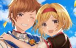 1boy 1girl :d bangs blonde_hair blue_sky brown_eyes cloud couple day djeeta_(granblue_fantasy) gran_(granblue_fantasy) granblue_fantasy grin hairband hand_on_another's_shoulder looking_at_viewer myusha one_eye_closed open_mouth outdoors parted_bangs petals portrait red_hairband shiny shiny_hair short_hair short_sleeves sky smile