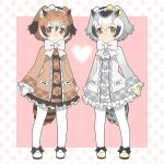 adapted_costume bird_tail bow bow_footwear bowtie brown_coat brown_eyes brown_hair closed_mouth coat commentary_request eurasian_eagle_owl_(kemono_friends) frilled_sleeves frills full_body grey_hair heart kemono_friends long_sleeves looking_at_viewer multicolored_hair multiple_girls northern_white-faced_owl_(kemono_friends) orange_eyes pantyhose plaid shoes simple_background white_coat white_hair white_legwear white_neckwear yukiko_haotome