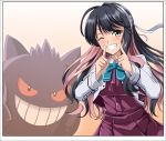 1girl black_hair bow bowtie breasts creatures_(company) cropped_jacket dress fang game_freak gen_1_pokemon gengar gradient gradient_background grey_legwear hair_ribbon hairband halterneck highres jacket kantai_collection large_breasts long_hair long_sleeves multicolored_hair naganami_(kantai_collection) nintendo one_eye_closed pink_hair pokemon pokemon_(creature) remodel_(kantai_collection) ribbon shirt sleeveless sleeveless_dress smile thighhighs two-tone_hair wavy_hair white_jacket white_shirt yellow_eyes zanntetu
