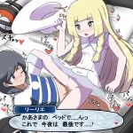 1boy 1girl arm_support bag bangs bare_shoulders baseball_cap black_eyes black_hair black_hat black_shorts blonde_hair blue_footwear blue_shirt blush braid breasts breath character_name closed_mouth collarbone creatures_(company) dress duffel_bag furanshisu game_freak green_eyes hand_up hat hat-removed heart hetero highres holding japanese_text kneehighs kneeling leaning_back lillie_(pokemon) long_hair lying matching_hair/eyes motion_lines nintendo no_panties nose_blush on_back on_bed one_eye_closed open_mouth pillow poke_ball_theme pokemon pokemon_(game) pokemon_sm pussy see-through sex shiny shiny_hair shirt shoes short_hair short_sleeves shorts shorts_pull sleeveless sleeveless_dress small_breasts speech_bubble spoken_heart spread_legs striped striped_shirt sun_hat sweat swept_bangs talking tied_hair translation_request trembling twin_braids uncensored vaginal white_dress white_hat white_legwear you_(pokemon)