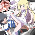 1boy 1girl arm_support bag bangs bar_censor bare_shoulders baseball_cap black_eyes black_hair black_hat black_shorts blonde_hair blue_footwear blue_shirt blush braid breasts breath censored closed_mouth collarbone creatures_(company) cross_section cum cum_in_pussy dress duffel_bag erection furanshisu game_freak green_eyes hand_up hat hat-removed heart hetero highres holding internal_cumshot japanese_text kneehighs kneeling leaning_back lillie_(pokemon) long_hair lying matching_hair/eyes motion_lines nintendo no_panties nose_blush on_back on_bed one_eye_closed open_mouth orgasm penis pillow poke_ball_theme pokemon pokemon_(game) pokemon_sm pussy see-through sex shiny shiny_hair shirt shoes short_hair short_sleeves shorts shorts_pull sleeveless sleeveless_dress small_breasts spoken_heart spread_legs striped striped_shirt sun_hat sweat swept_bangs tied_hair translation_request trembling twin_braids vaginal white_dress white_hat white_legwear you_(pokemon)