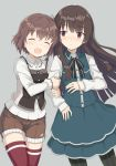 2girls :d ^_^ arm_hug bangs black_hair black_legwear black_neckwear blue_shirt blue_skirt blush brown_hair brown_shorts buttons casual closed_eyes closed_mouth collared_shirt commentary_request cowboy_shot etou_kanami eyebrows_visible_through_hair eyes_closed grey_background hair_ornament juujou_hiyori layered_skirt long_hair long_sleeves looking_at_another multiple_girls neck_ribbon nose_piercing open_mouth pera piercing red_eyes red_legwear ribbed_sweater ribbon shirt short_hair shorts side-by-side simple_background skirt skirt_set sleeves_past_wrists smile spaghetti_strap striped striped_legwear sweater thighhighs toji_no_miko vest white_shirt white_sweater wing_collar