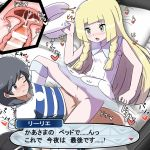 1boy 1girl arm_support bag bangs bar_censor bare_shoulders baseball_cap black_eyes black_hair black_hat black_shorts blonde_hair blue_footwear blue_shirt blush braid breasts breath censored character_name closed_mouth collarbone creatures_(company) cross_section cum cum_in_pussy dress duffel_bag erection furanshisu game_freak green_eyes hand_up hat hat-removed heart hetero highres holding internal_cumshot japanese_text kneehighs kneeling leaning_back lillie_(pokemon) long_hair lying matching_hair/eyes motion_lines nintendo no_panties nose_blush on_back on_bed one_eye_closed open_mouth orgasm penis pillow poke_ball_theme pokemon pokemon_(game) pokemon_sm pussy see-through sex shiny shiny_hair shirt shoes short_hair short_sleeves shorts shorts_pull sleeveless sleeveless_dress small_breasts speech_bubble spoken_heart spread_legs striped striped_shirt sun_hat sweat swept_bangs talking tied_hair translation_request trembling twin_braids vaginal white_dress white_hat white_legwear you_(pokemon)
