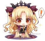 ! +_+ 1girl :d asymmetrical_legwear asymmetrical_sleeves bangs black_dress black_legwear blonde_hair blush breasts brown_ribbon cape chibi commentary_request dress earrings ereshkigal_(fate/grand_order) eyebrows_visible_through_hair fate/grand_order fate_(series) full_body hair_ribbon infinity jewelry kneehighs long_hair long_sleeves medium_breasts multicolored multicolored_cape multicolored_clothes open_mouth parted_bangs purple_cape red_eyes ribbon single_kneehigh single_sleeve skull smile solo sparkle spine spoken_exclamation_mark standing tiara twitter_username two_side_up upper_teeth v-shaped_eyebrows very_long_hair white_background yellow_cape yukiyuki_441