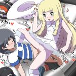 1boy 1girl arm_support bag bangs bare_shoulders baseball_cap black_eyes black_hair black_hat black_shorts blonde_hair blue_footwear blue_shirt blush braid breasts breath closed_mouth collarbone creatures_(company) dress duffel_bag furanshisu game_freak green_eyes hand_up hat hat-removed heart hetero highres holding japanese_text kneehighs kneeling leaning_back lillie_(pokemon) long_hair lying matching_hair/eyes motion_lines nintendo no_panties nose_blush on_back on_bed one_eye_closed open_mouth pillow poke_ball_theme pokemon pokemon_(game) pokemon_sm pussy see-through sex shiny shiny_hair shirt shoes short_hair short_sleeves shorts shorts_pull sleeveless sleeveless_dress small_breasts spoken_heart spread_legs striped striped_shirt sun_hat sweat swept_bangs tied_hair translation_request trembling twin_braids uncensored vaginal white_dress white_hat white_legwear you_(pokemon)