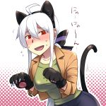 1girl ahoge animal_ears blush breasts caffein cat_ears cat_tail fake_animal_ears fang highres long_hair looking_at_viewer open_mouth paw_pose paws ponytail red_eyes silver_hair smile solo tail vocaloid voyakiloid yowane_haku