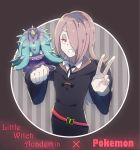 1girl blue_eyes clenched_hand copyright_name creatures_(company) game_freak gen_7_pokemon grey_background hair_over_one_eye highres little_witch_academia long_hair looking_at_viewer mareanie nintendo oga_sleep parted_lips pink_eyes pokemon pokemon_(creature) pokemon_(game) purple_hair school_uniform smile striped striped_background sucy_manbavaran v wide_sleeves yellow_sclera