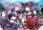 2girls :o armband bang_dream! bangs belt black_belt black_gloves black_hair black_vest blurry blurry_background cable chain_necklace choker commentary_request crossed_bangs detached_sleeves electric_guitar flower glint gloves guitar hair_flower hair_ornament hair_ribbon holding_cable instrument lavender_hair lens_flare long_hair microphone microphone_stand midriff minato_yukina mitake_ran multicolored_hair multiple_girls navel nennen o-ring o-ring_choker orange_flower orange_rose pantyhose pink_flower pink_legwear pink_rose purple_eyes purple_hair purple_ribbon purple_skirt red_hair red_skirt ribbon rose scaffolding short_hair single_detached_sleeve skirt strap streaked_hair studded_belt studded_choker suspenders thigh_strap vest yellow_eyes