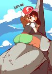 animated animated_gif artist_name ass ayumi_(pokemon) bare_legs baseball_cap black_vest blue_sky blush bouncing_ass breasts brown_eyes brown_hair chestnut_mouth cloud cloudy_sky creatures_(company) day diives english english_text female from-behind from_behind game_freak gen_1_pokemon green_shorts hand_up hat highres horn leaning_forward legs looking_at_viewer looking_back matching_hair/eyes nintendo onix open_mouth outdoors poke_ball_print poke_ball_theme pokemon pokemon_(creature) pokemon_(game) pokemon_lgpe ponytail print_hat red_hat riding shirt short_ponytail short_shorts short_sleeves shorts signature sitting sky small_breasts sol_focus straddling talking tareme teeth tied_hair toon vest white_shirt wide_hips