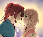 ... 2girls alternate_hairstyle aqua_eyes bang_dream! bangs blush bow braid eye_contact face-to-face forehead-to-forehead hair_bow japanese_clothes kimono long_hair looking_at_another multiple_girls pink_bow pink_hair ponytail re_ghotion red_hair spoken_ellipsis sunset sweat translation_request twin_braids udagawa_tomoe uehara_himari upper_body yuri