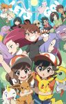 6+girls ;d ayumi_(pokemon) bald baseball_cap black_eyes black_hair blonde_hair blue_eyes bob_cut bright_pupils brown_eyes brown_hair creatures_(company) eevee ekans english erika_(pokemon) everyone facial_hair fang flower game_freak gen_1_pokemon gen_7_pokemon glasses green_eyes grin gym_leader hair_intakes hairband hat highres japanese_clothes kakeru_(pokemon) kasumi_(pokemon) katsura_(pokemon) kimono koffing kojirou_(pokemon) kyou_(pokemon) lavender_hair long_hair looking_at_viewer matis_(pokemon) meltan meowth mew multiple_boys multiple_girls musashi_(pokemon) mustache natsume_(pokemon) ninja nintendo one_eye_closed open_mouth orange_hair pearl_earrings pikachu poke_ball_theme pokemon pokemon_(creature) pokemon_(game) pokemon_lgpe ponytail rose shin_(pokemon) shioiri short_hair short_sleeves smile spiked_hair sun takeshi_(pokemon) tank_top twitter_username white_hair