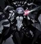 1girl absurdres blue_eyes bodysuit breasts cane cape cell_(acorecell) glowing hand_up headgear highres holding holding_cane kantai_collection long_hair looking_at_viewer medium_breasts monster pale_skin shinkaisei-kan silver_hair simple_background solo tentacle white_skin wo-class_aircraft_carrier