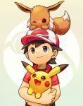 animal animal_on_head baseball_cap black_hair brown_eyes carrying closed_mouth creatures_(company) eevee game_freak gen_1_pokemon hat highres jacket kakeru_(pokemon) looking_up male_focus nintendo on_head pikachu poke_ball_theme pokemon pokemon_(creature) pokemon_(game) pokemon_lgpe pokemon_on_head short_sleeves smile upper_body yanedx
