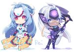 2girls android bare_shoulders blue_eyes blue_hair breasts cleavage cyborg dark_skin elbow_gloves expressionless forehead_protector glasses gloves himono_xeno kos-mos kos-mos_re: leotard long_hair looking_at_viewer multiple_girls nintendo red_eyes silver_hair smile standing t-elos t-elos_re thighhighs very_long_hair white_leotard xenoblade_(series) xenoblade_2 xenosaga xenosaga_episode_iii