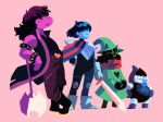 <3 ♠ 2018 ambiguous_gender anthro armor axe belt biped black_body black_fur blue_hair blue_skin blue_tongue boots bracelet caprine clothed clothing deltarune digital_media_(artwork) eyewear footwear freckles frown fully_clothed fur glasses gloves goat green_eyes green_hat grin group hair hair_over_eyes hat holding_object holding_weapon human jacket jewelry kris_(deltarune) lancer_(deltarune) lizard looking_away loopy-lupe mammal melee_weapon monster pants paws pink_background pink_scales purple_hair ralsei reptile robe scales scalie scarf shadow shirt simple_background size_difference smile snout spikes standing suit_symbol susie_(deltarune) sword teeth tongue tongue_out torn_clothing torn_pants video_games weapon white_body witch_hat