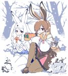 2girls animal_ears arctic_hare_(kemono_friends) binoculars book breasts brown_footwear brown_hair brown_legwear brown_skirt bunny_ears bunny_tail capelet center_frills commentary_request day eating european_hare_(kemono_friends) eyebrows_visible_through_hair food food_on_face fur_collar fur_trim gradient_hair hair_over_one_eye high-waist_skirt japari_bun kemono_friends kneeling large_breasts long_hair long_sleeves looking_at_viewer mittens multicolored_hair multiple_girls outdoors pantyhose red_eyes seiza shirt sitting skirt smile snow tail tree very_long_hair white_hair white_legwear white_mittens white_shirt yoshida_hideyuki