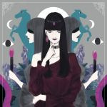 3girls abstract arm_across_waist arm_up bangs black_blindfold black_hair blindfold blunt_bangs breasts closed_mouth commentary_request crescent_moon cross_choker eyes faceless faceless_female finger_to_chin fire full_moon grey_background grey_choker grey_hair highres holding_candle horse kuromitsu lipstick long_hair long_sleeves looking_at_viewer makeup medium_breasts moon multiple_girls off-shoulder_shirt original profile purple_fire purple_lipstick purple_shirt shirt smile solo_focus
