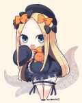 1girl :d abigail_williams_(fate/grand_order) bangs black_bow black_dress black_footwear black_hat blonde_hair bloomers blue_eyes blush bow brown_background bug butterfly chibi commentary_request dress fate/grand_order fate_(series) forehead full_body hair_bow hat insect leaning_forward long_hair long_sleeves looking_at_viewer object_hug open_mouth orange_bow parted_bangs polka_dot polka_dot_bow shoes sleeves_past_fingers sleeves_past_wrists smile solo standing stuffed_animal stuffed_toy suction_cups teddy_bear tentacle underwear very_long_hair white_bloomers yuzuki_gao