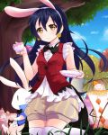1girl animal_ears bangs blue_hair blush bunny bunny_ears earrings gloves hair_between_eyes heart highres holding jewelry korekara_no_someday long_hair looking_at_viewer love_live! love_live!_school_idol_project mikimo_nezumi puffy_shorts shorts smile solo sonoda_umi thighhighs white_gloves white_legwear yellow_eyes