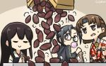 3girls akagi_(kantai_collection) amagiri_(kantai_collection) asymmetrical_bangs bag bangs black_hair black_jacket box brown_eyes brown_hair chewing_gum chiyoda_(kantai_collection) commentary_request dated eyes_closed floral_print food grey_eyes grey_hair hair_between_eyes hamu_koutarou headband highres hood hooded_jacket hoodie jacket japanese_clothes kantai_collection long_hair multiple_girls muneate paper_bag ponytail semi-rimless_eyewear short_hair straight_hair sweet_potato table tasuki under-rim_eyewear upper_body very_long_hair