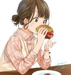 1girl absurdres brown_eyes brown_hair eating food hamburger highres original plaid plaid_shirt sako_(user_ndpz5754) shirt solo sweater_vest tied_hair watch white_background wristwatch